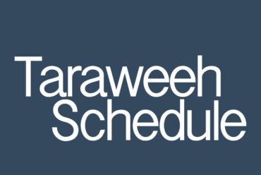 Tarweeh Prayer Schedule