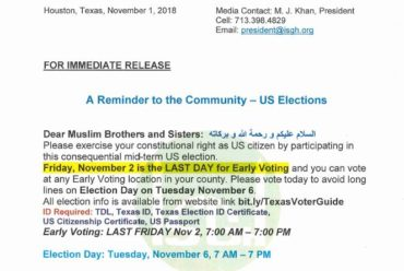 A Reminder to the Community – US Elections