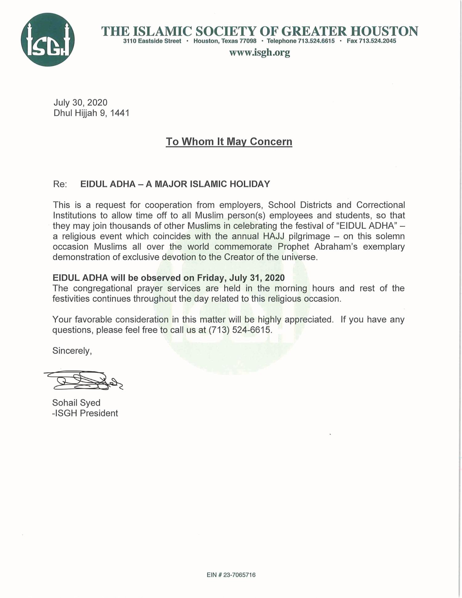 Eid Al Adha Excuse Letter Islamic Society Of Greater Houston